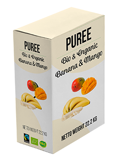 organic fairtrade banana or mango puree not frozen in bag in box with aseptic bag MOQ 1MT FCA